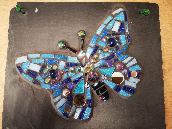 Butterfly student mosaic example creataive with nature todmorden