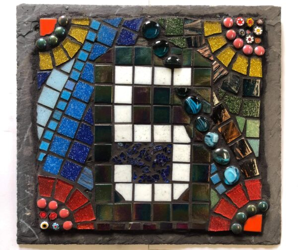 student mosaic work creative with nature
