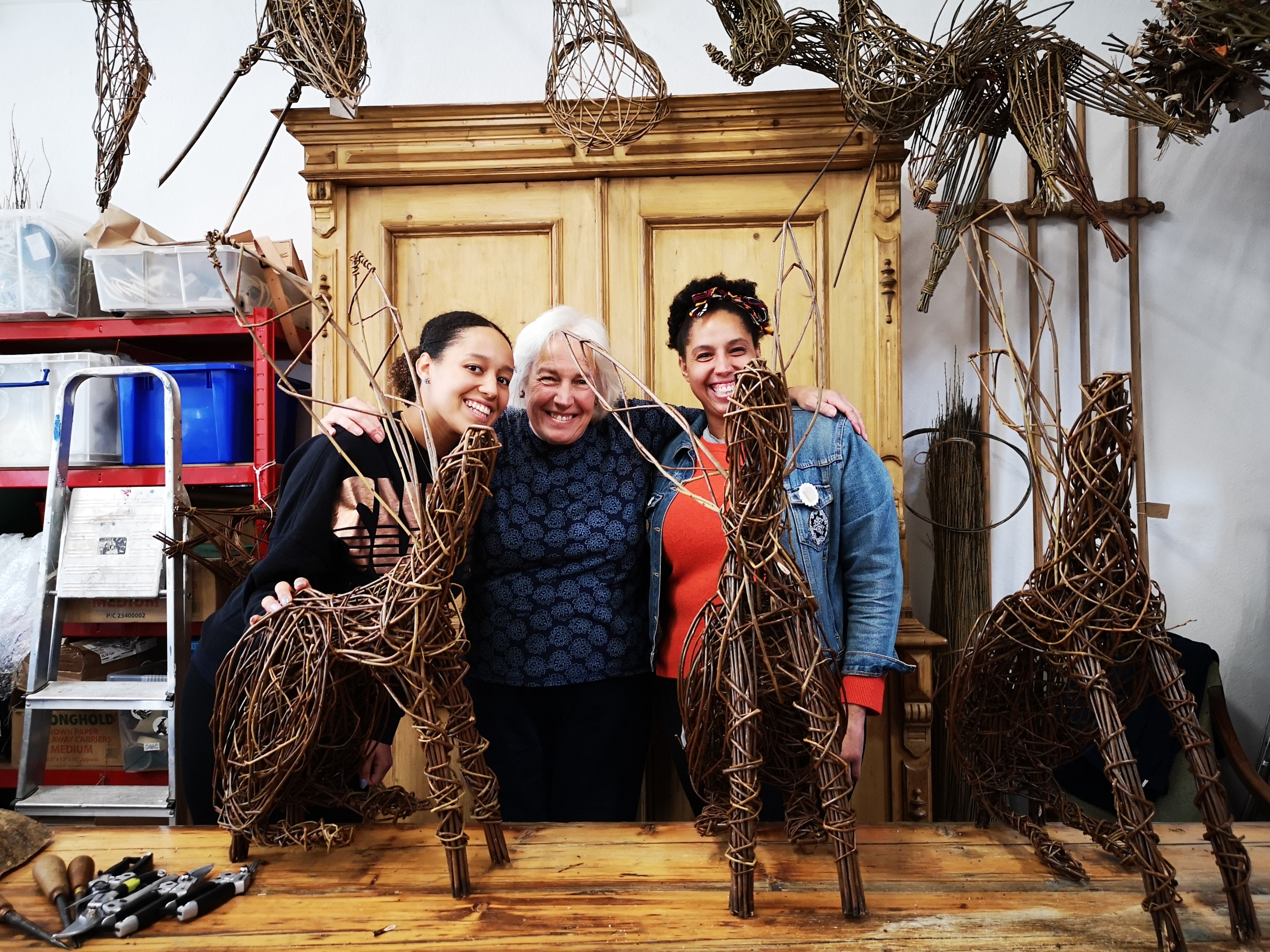 mother and daughters willow hare sculpture creative with nature todmorden